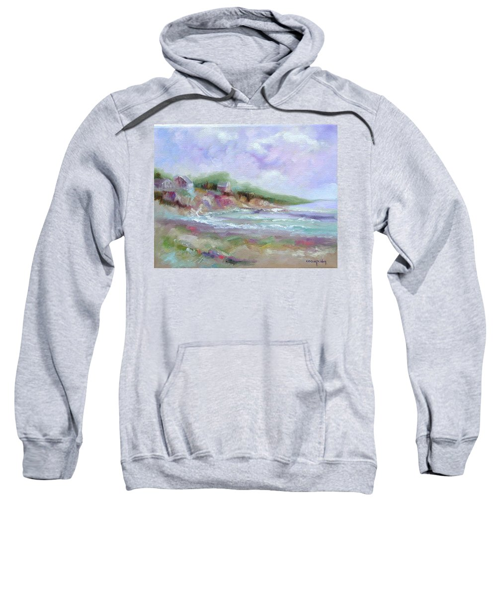 Maine Coastline Sweatshirt featuring the painting Maine Coastline by Ginger Concepcion