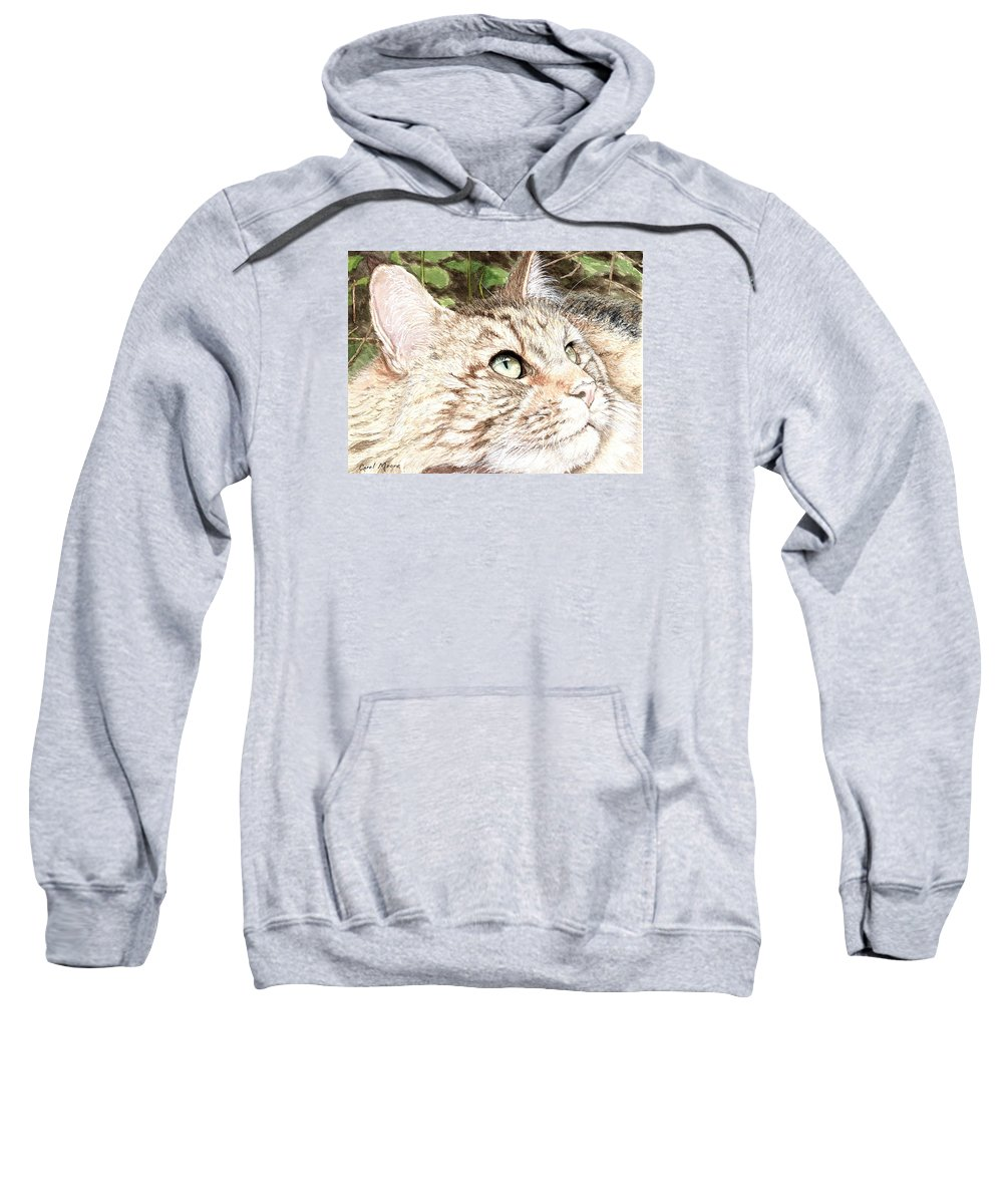 Maine Sweatshirt featuring the painting Maine Coon Cat by Carol Moore