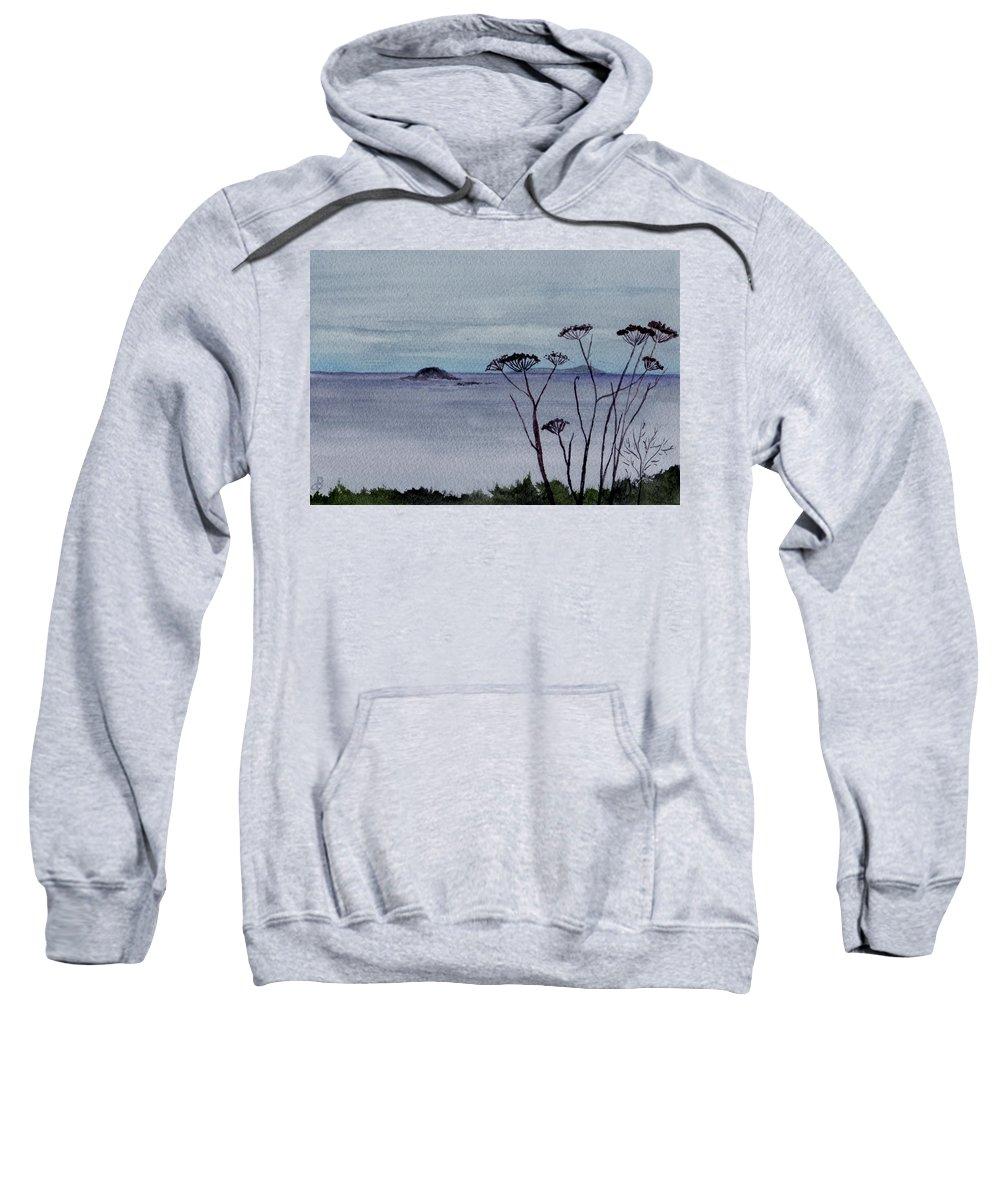 Landscape Watercolor Sea Ocean Sky Cloudy Flower Weed Sweatshirt featuring the painting Maine Moody Distance by Brenda Owen