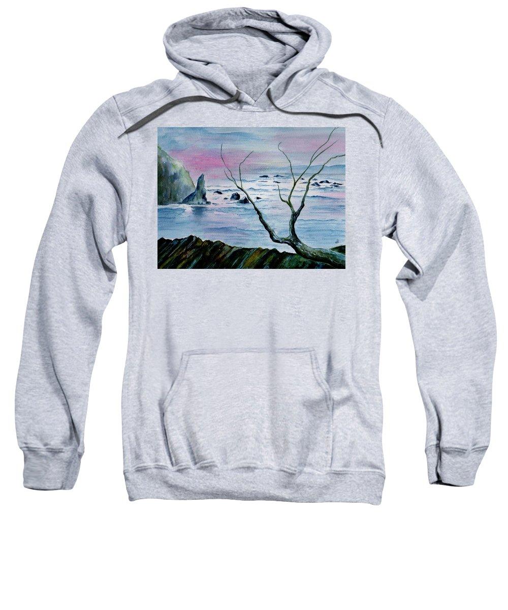 Watercolor Sweatshirt featuring the painting Maine Seawatch by Brenda Owen