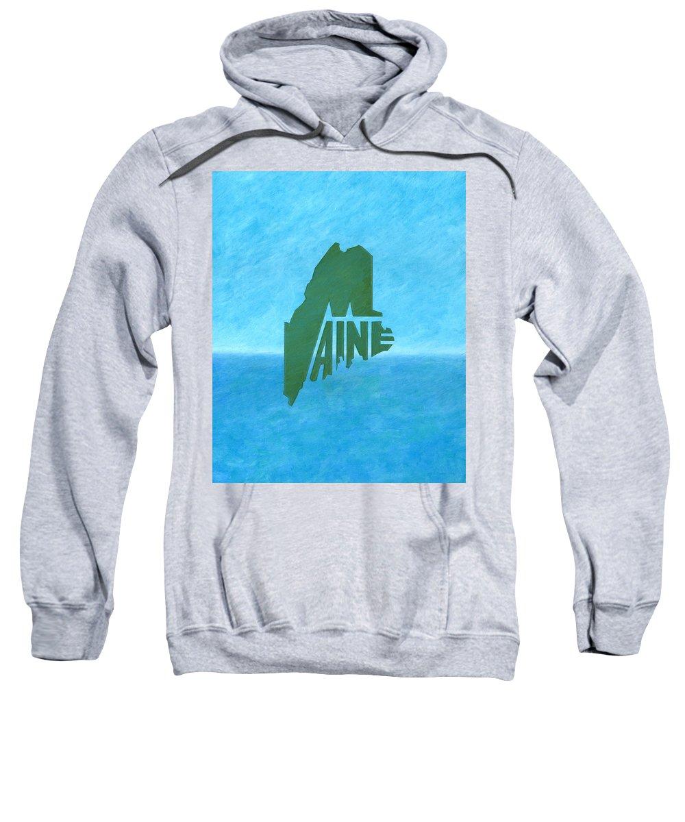 Maine Sweatshirt featuring the drawing Maine Wordplay by Dominic White