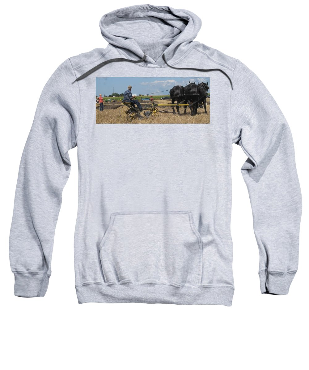 Horse Sweatshirt featuring the photograph Making The Clubhouse Turn by Ian MacDonald