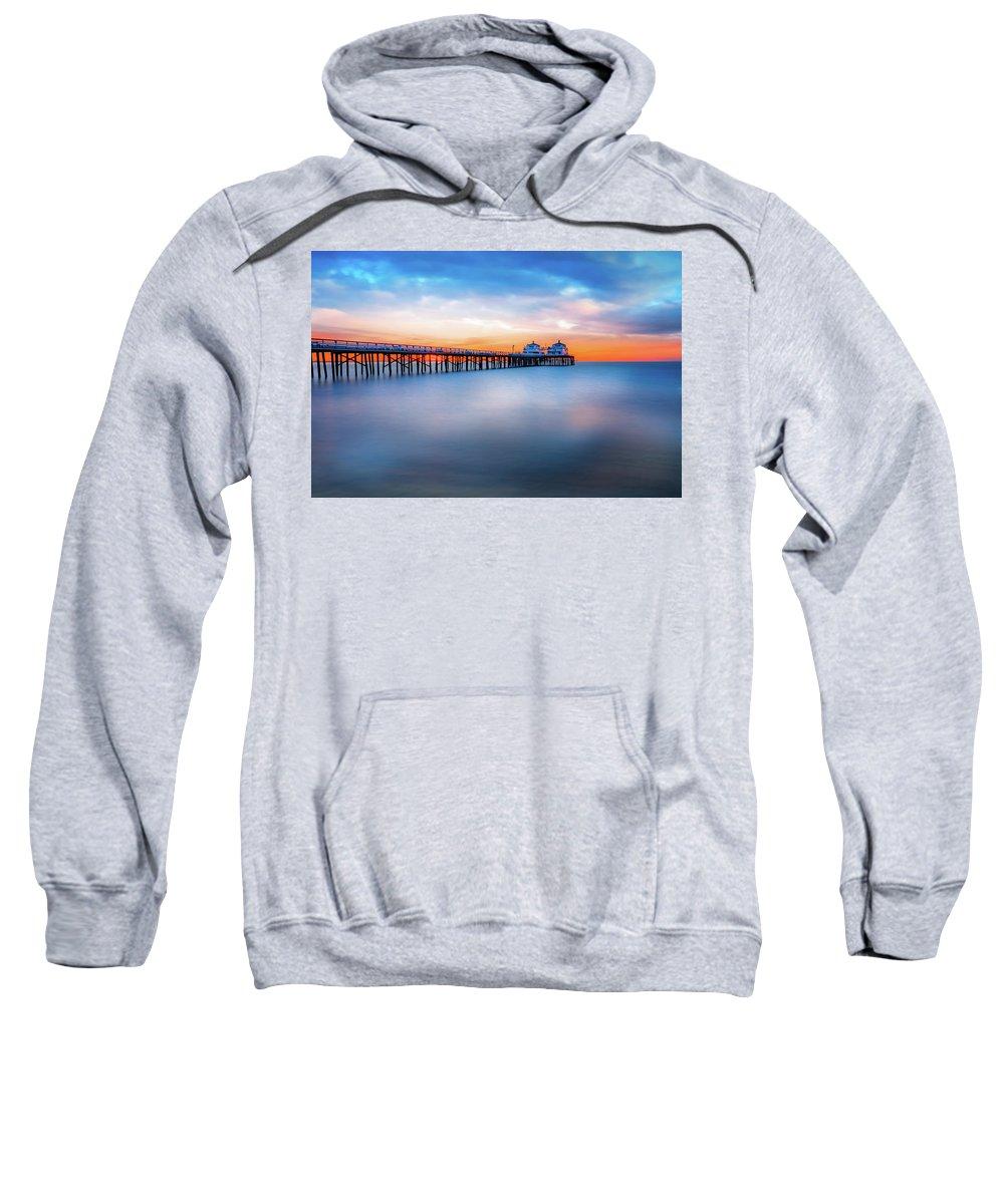 Sunrise Sweatshirt featuring the photograph Malibu Pier Sunrise by Vince Capul
