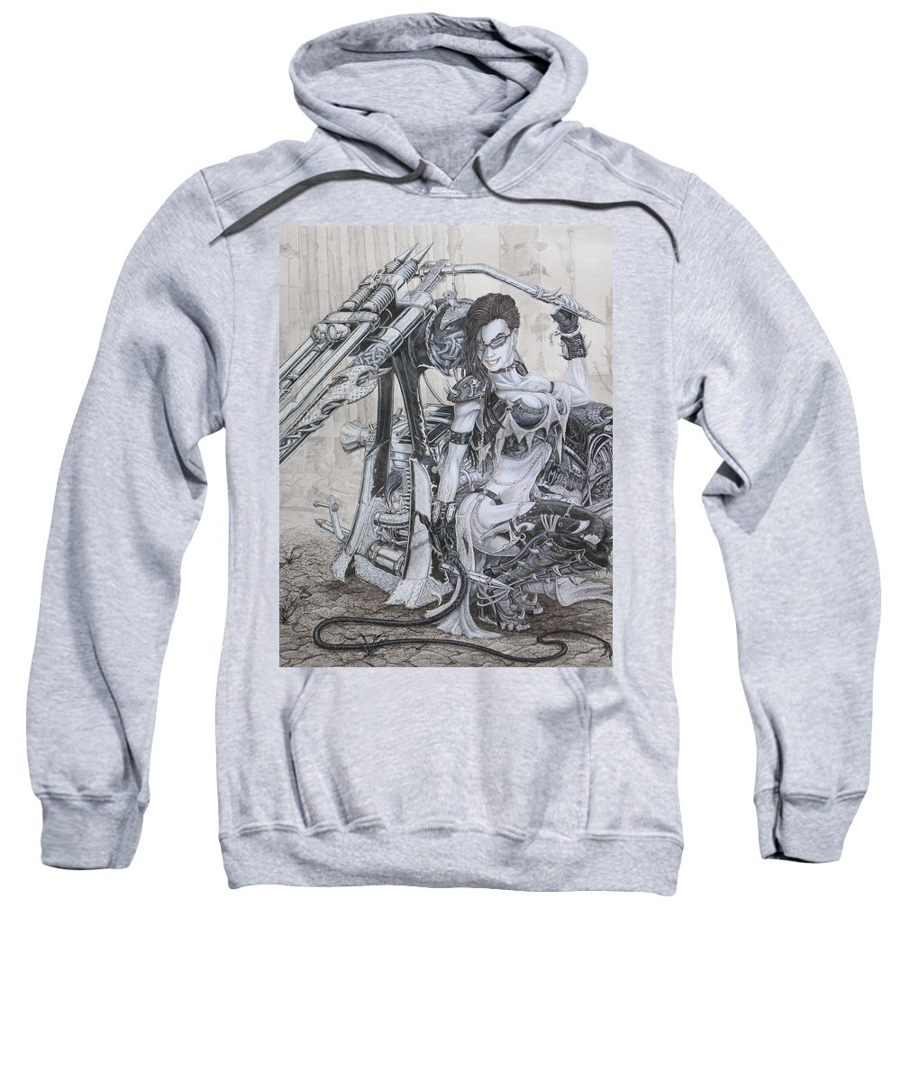 #bike Sweatshirt featuring the drawing Malice by Kristopher VonKaufman