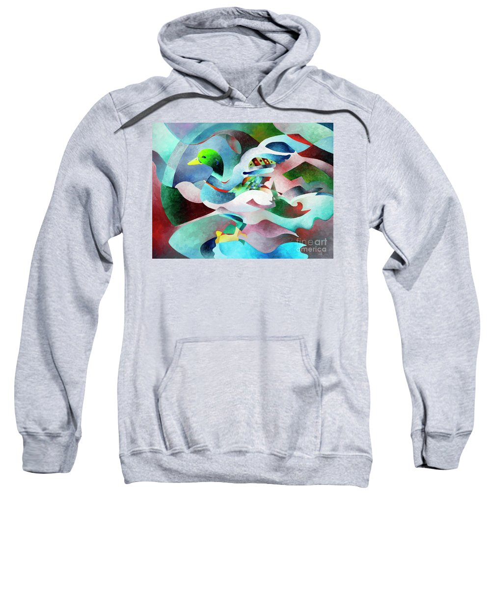 Duck Sweatshirt featuring the painting Mallard by Sally Trace