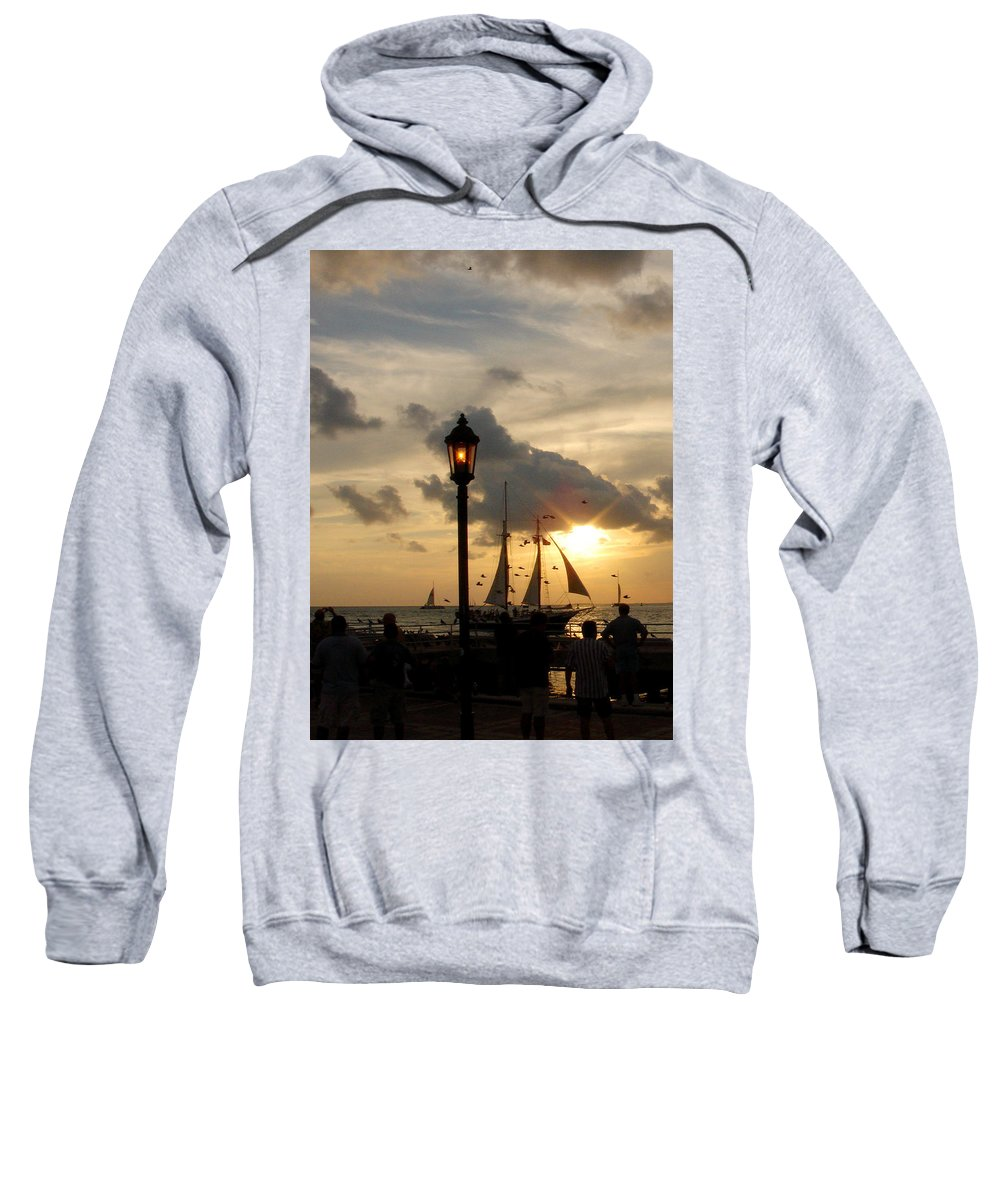 Photography Sweatshirt featuring the photograph Mallory Square Key West by Susanne Van Hulst