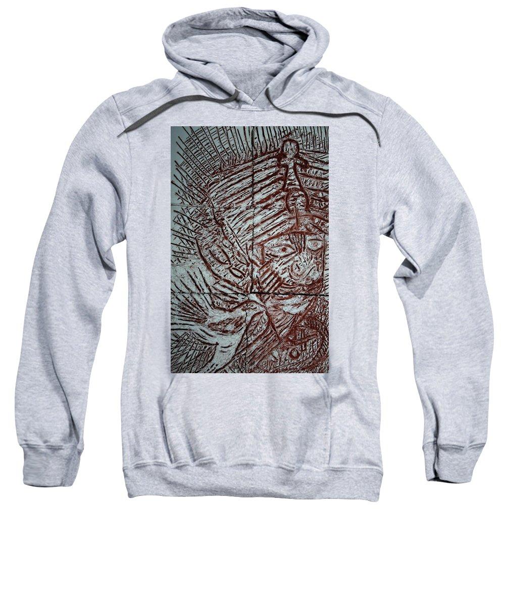 Jesus Sweatshirt featuring the ceramic art Mama Africa 2 - Plaque by Gloria Ssali