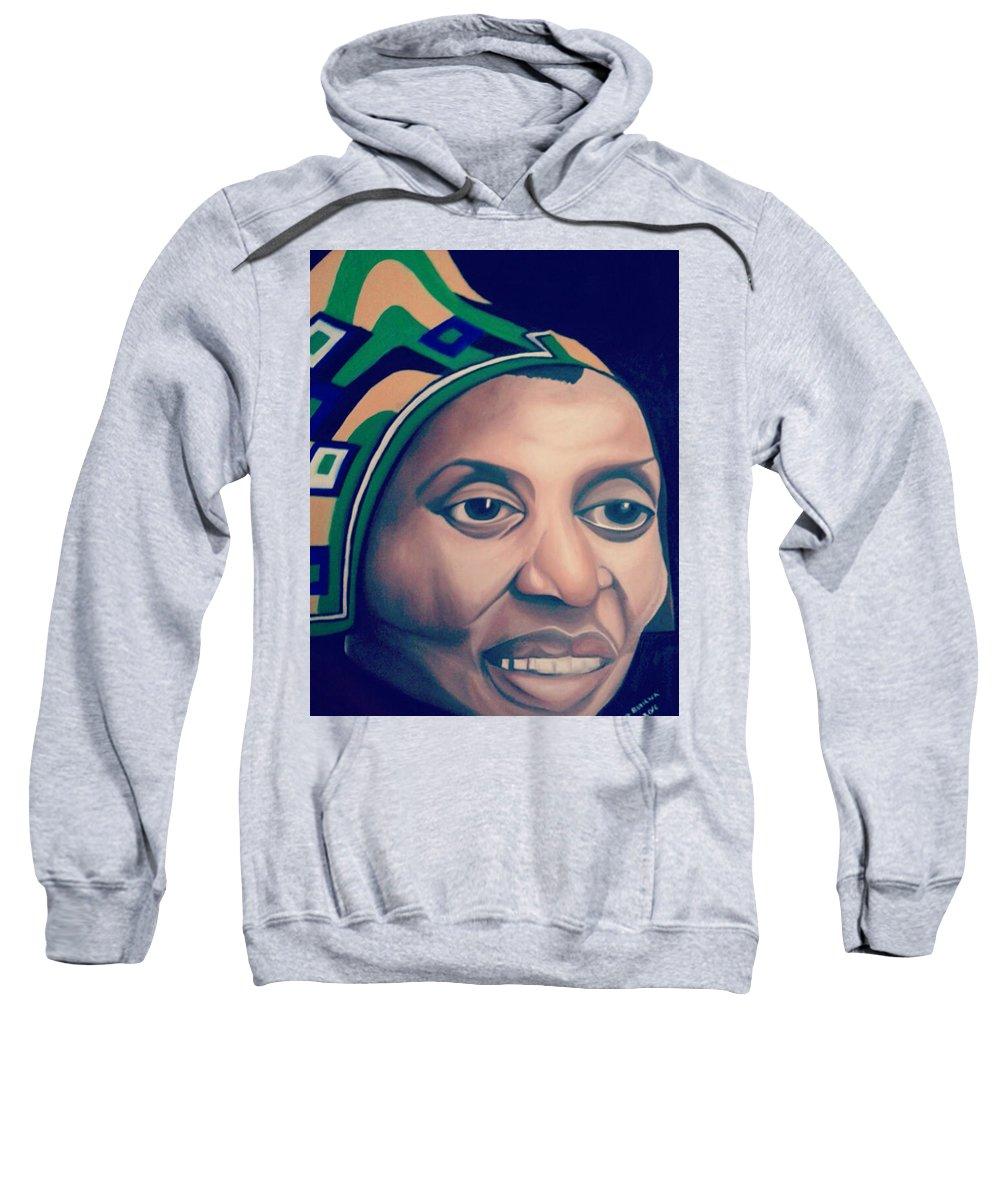 Africanwoman Sweatshirt featuring the painting Mama Afrika by Eve Bodirwa