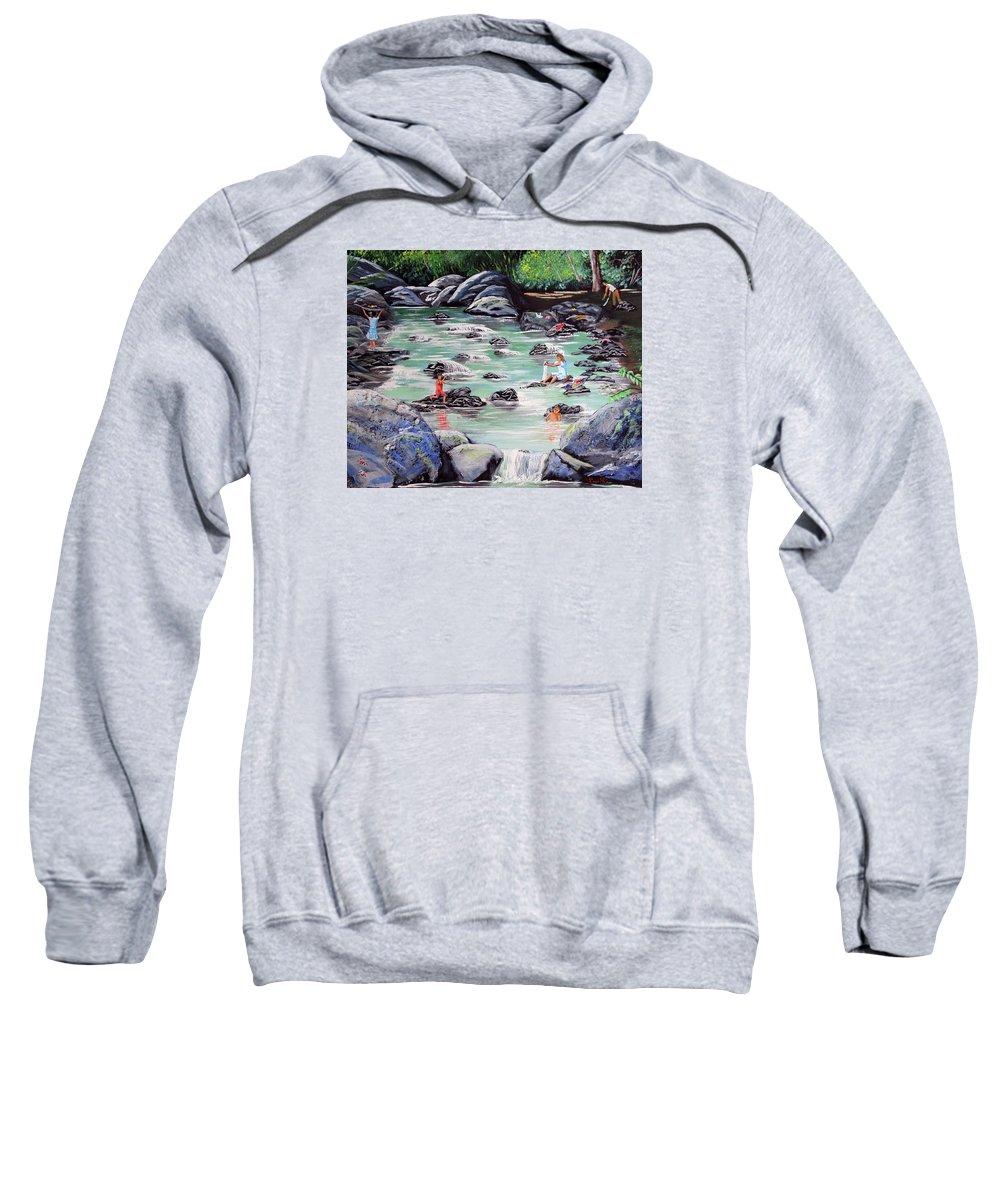 Quebrada Sweatshirt featuring the painting Mami Lavando Ropa by Luis F Rodriguez