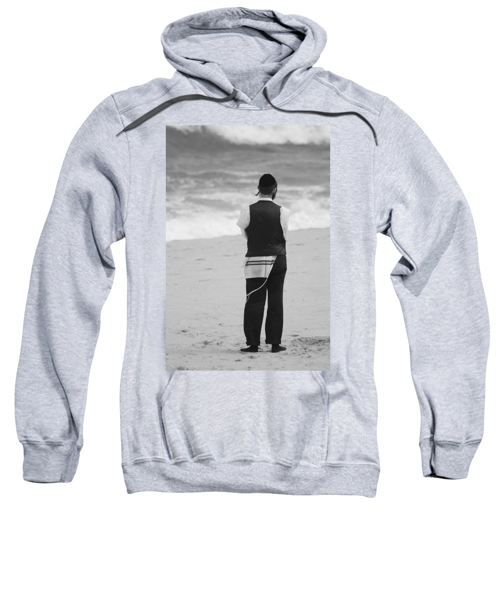 Black And White Sweatshirt featuring the photograph Man And The Sea by Rob Hans