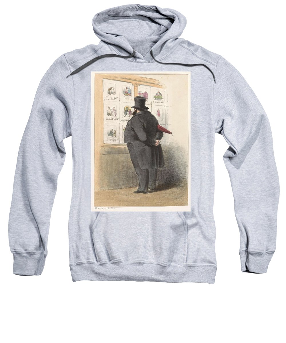 Man Sweatshirt featuring the painting Man For A Showcase With Prints, Anonymous, 1810 - C. 1900 by Artistic Rifki