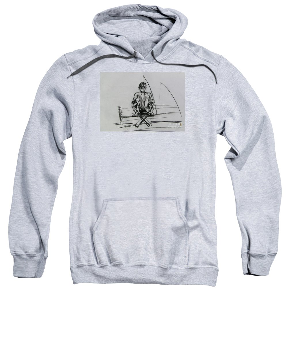 Sweatshirt featuring the drawing Man In The Fishing Game by Sukalya Chearanantana