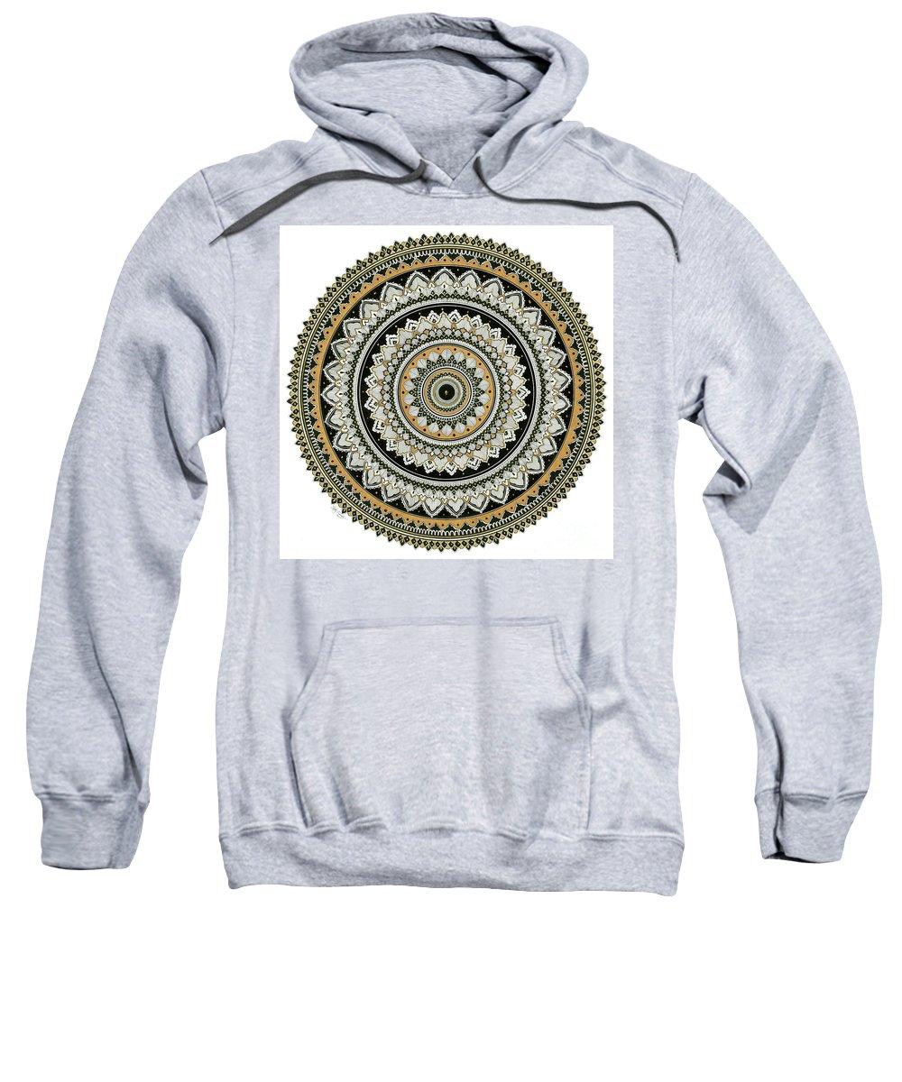 Mandala Sweatshirt featuring the drawing Black And Gold Mandala by Cathy Siewert
