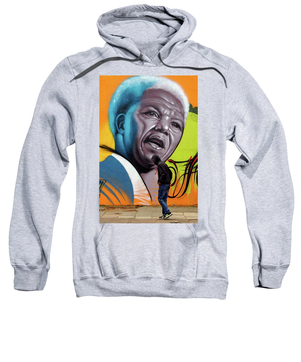 Street Mural Life Sweatshirt featuring the photograph Mandela Watching by Suzanne Morshead