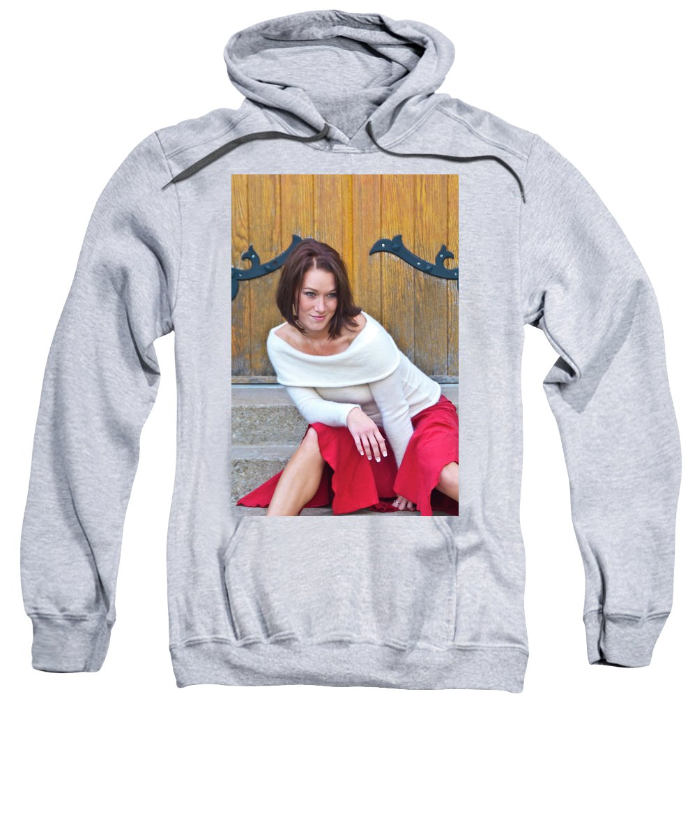 Model Sweatshirt featuring the photograph Mandy 0043 by Guy Whiteley