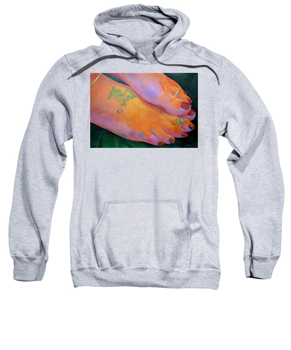 Toes Sweatshirt featuring the painting Mandy Toes Orange by Jerrold Carton