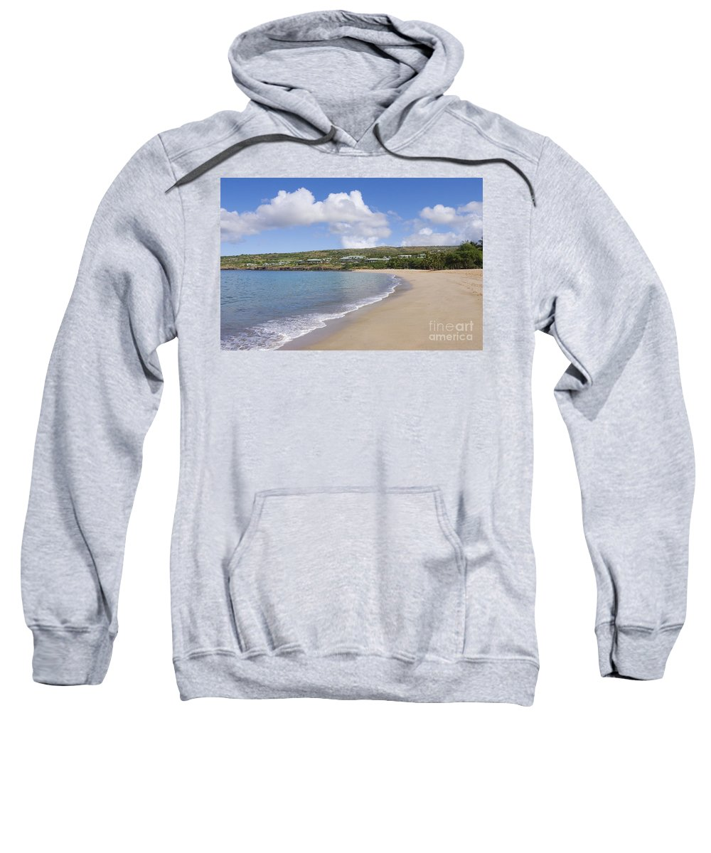 Bay Sweatshirt featuring the photograph Manele Bay Beach by Greg Vaughn - Printscapes