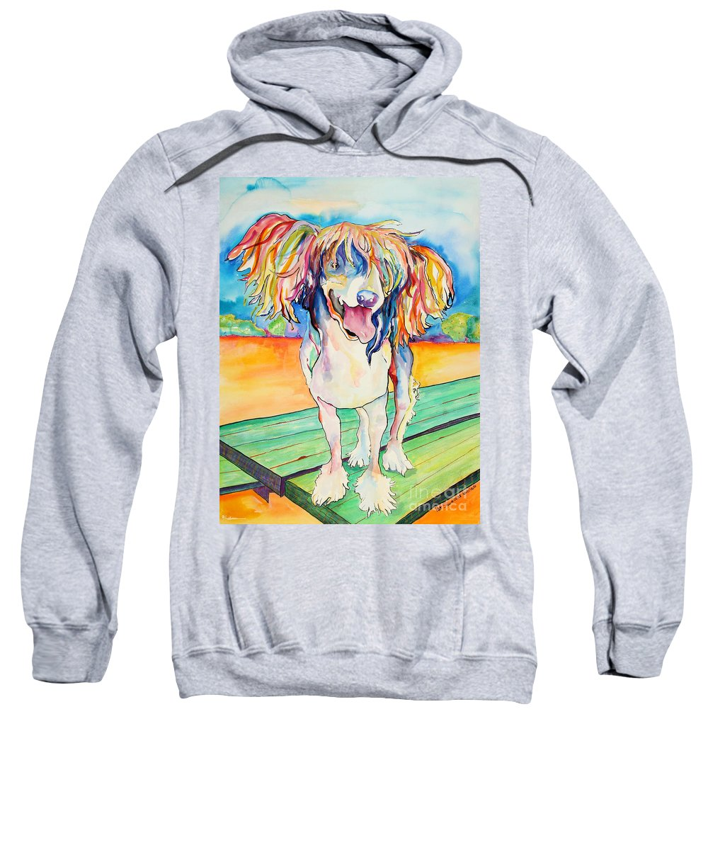 Chinese Crested Sweatshirt featuring the painting Mango Salsa by Pat Saunders-White