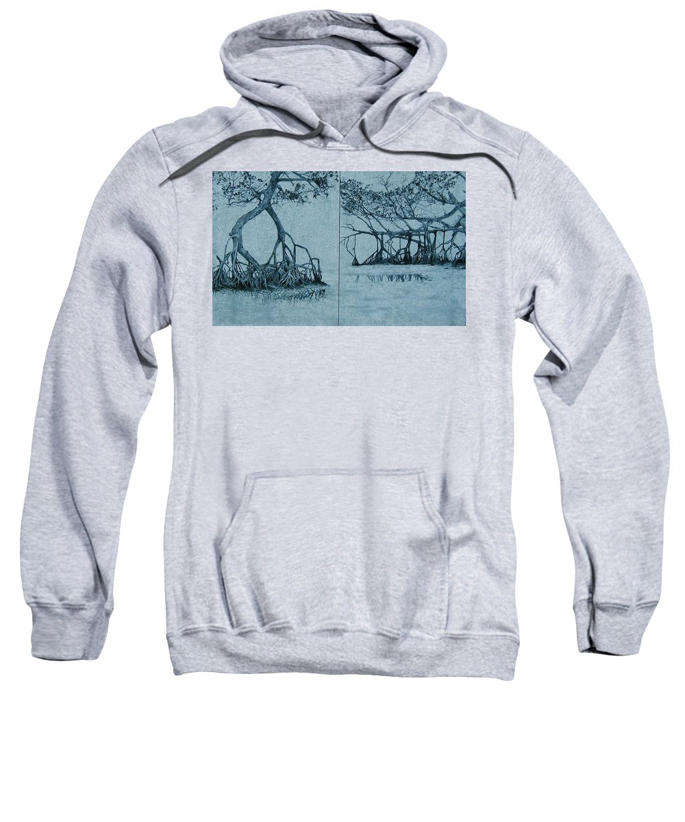 Blue Sweatshirt featuring the painting Mangroves by Leah Tomaino