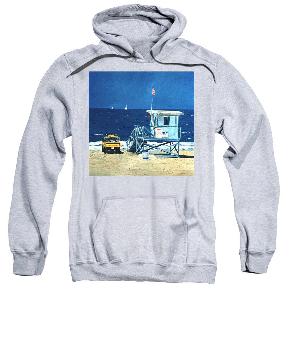 Modern Sweatshirt featuring the painting Manhattan Beach Lifeguard Station by Lance Headlee