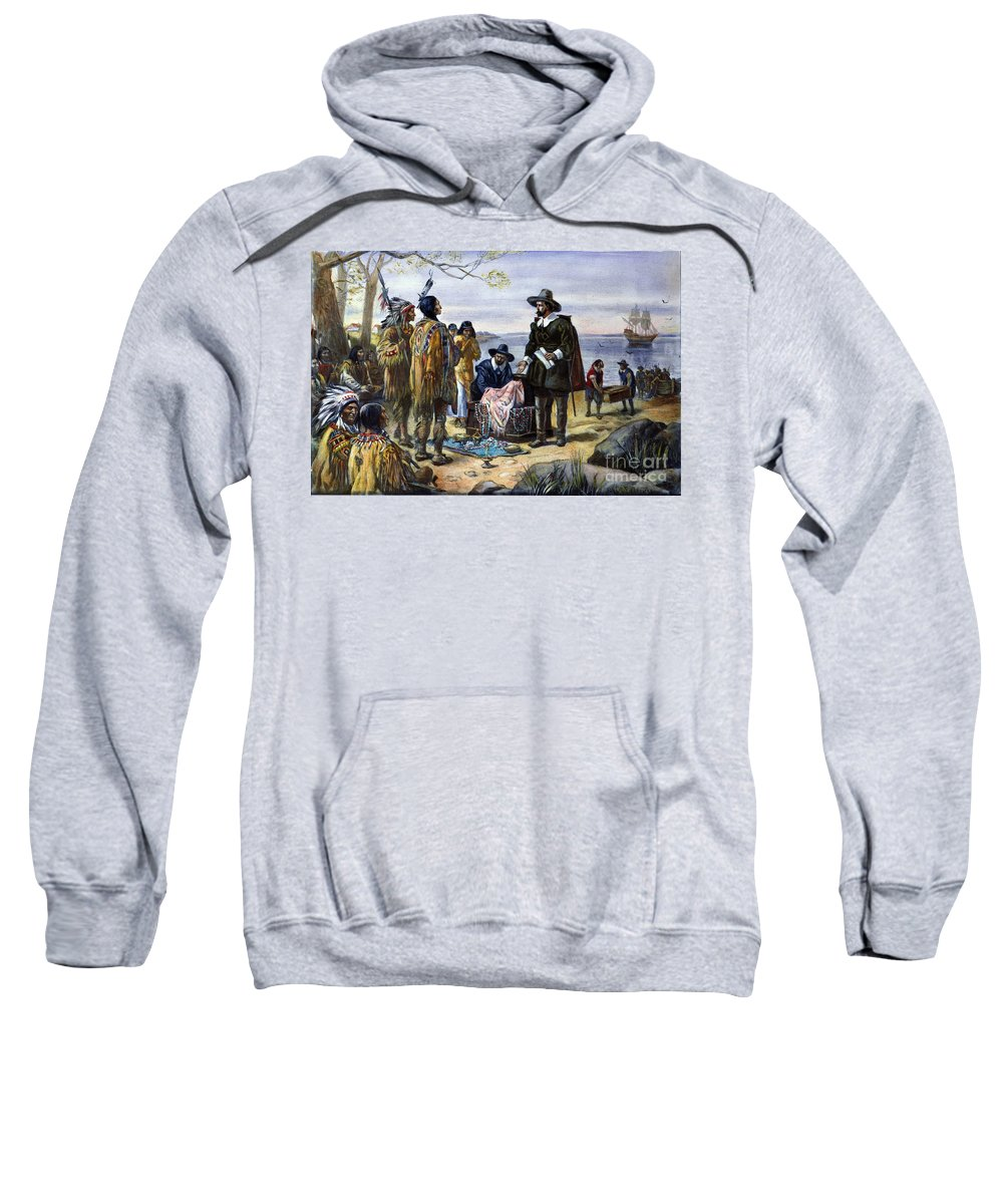 1626 Sweatshirt featuring the photograph Manhattan Purchase, 1626 by Granger