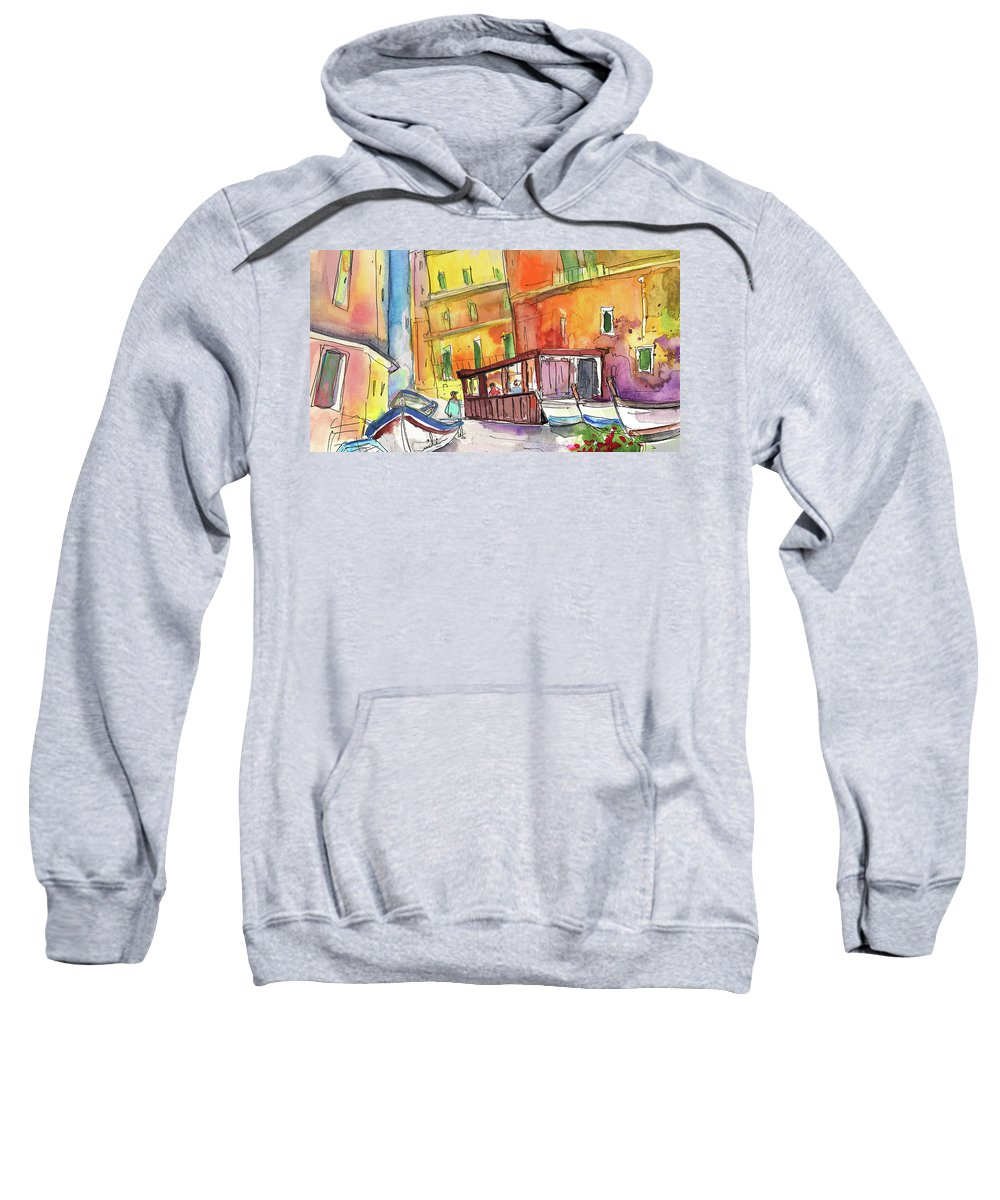Italy Sweatshirt featuring the painting Manorola In Italy 04 by Miki De Goodaboom
