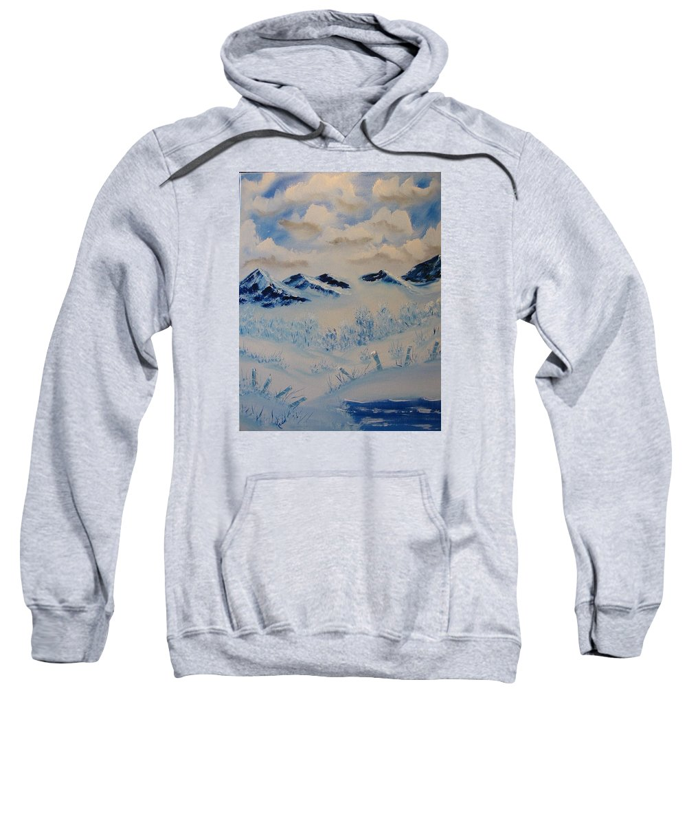 Blue Sweatshirt featuring the painting Many Valleys by Laurie Kidd