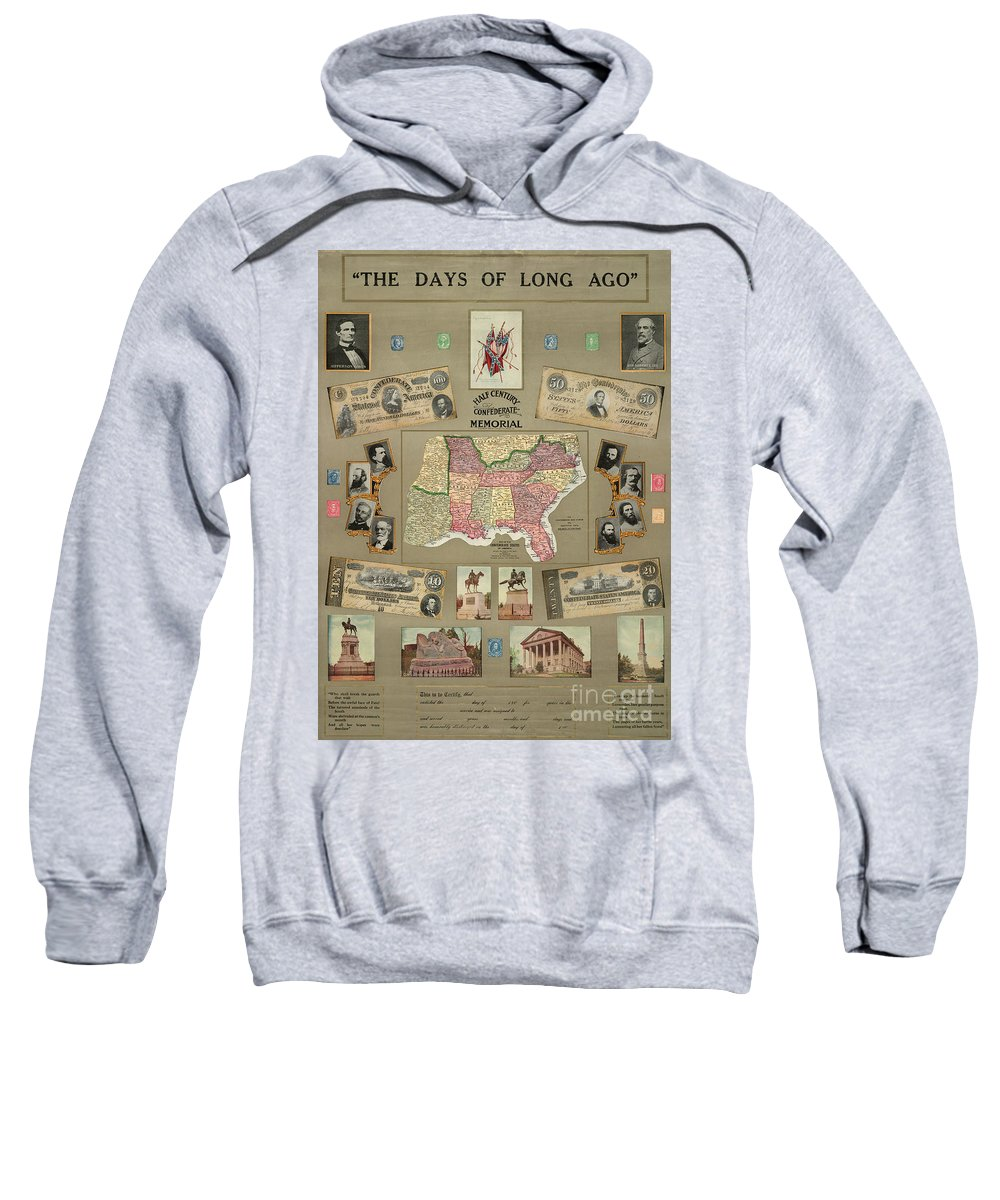 1910 Sweatshirt featuring the photograph Map: Confederate States by Granger