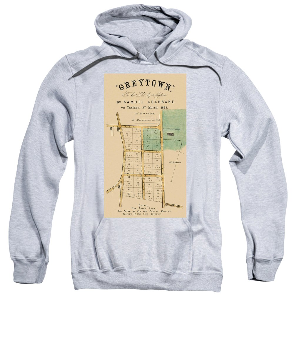Auckland Sweatshirt featuring the photograph Map Of Auckland 1863b by Andrew Fare
