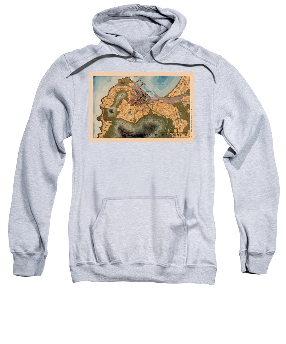 Cape Town Sweatshirt featuring the photograph Map Of Cape Town 1947 by Andrew Fare
