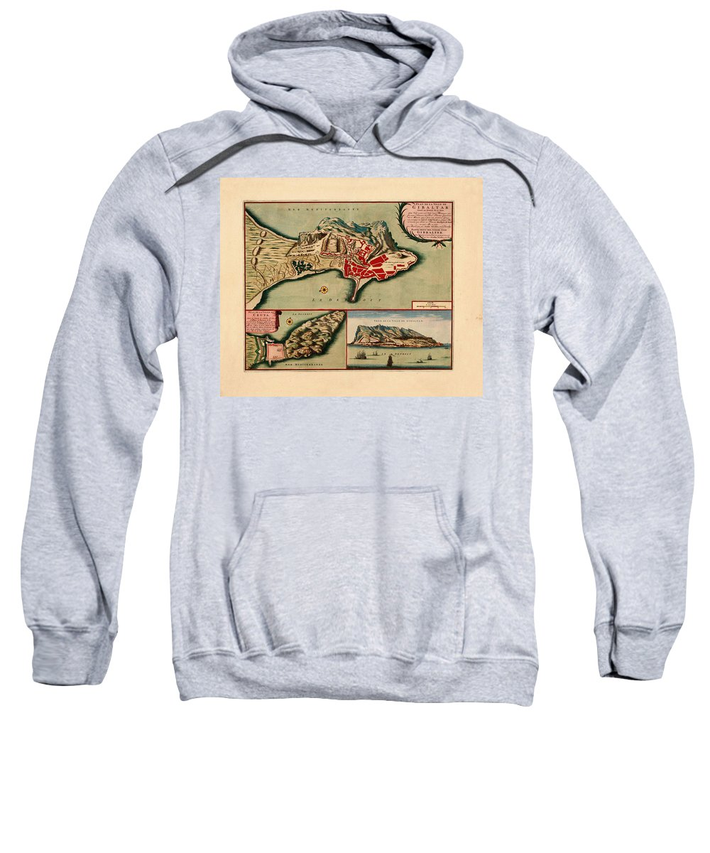 Map Of Gibraltar Sweatshirt featuring the photograph Map Of Gibraltar 1706 by Andrew Fare