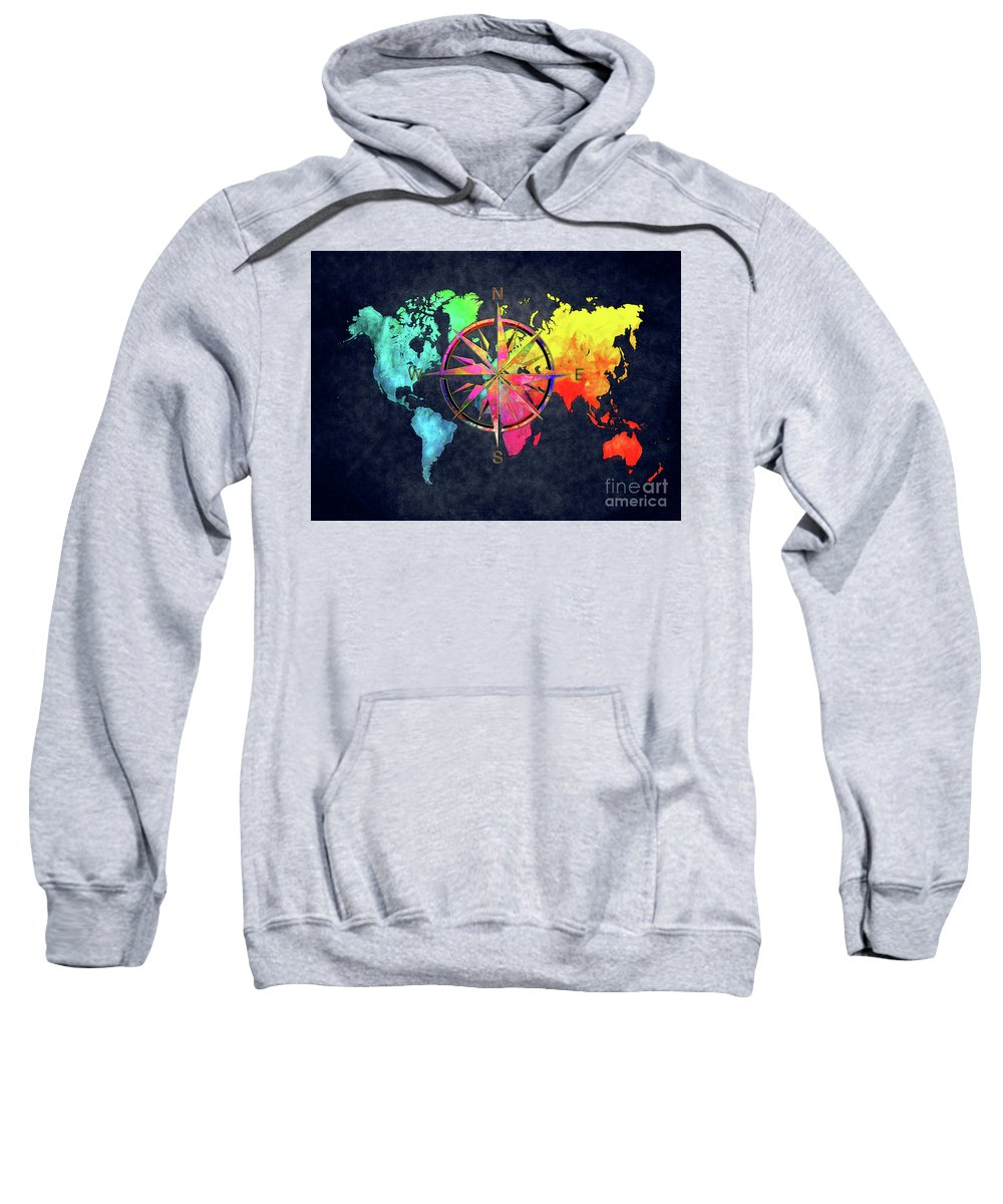 Map Of The World Sweatshirt featuring the digital art Map Of The World Wind Rose 6 by Justyna JBJart