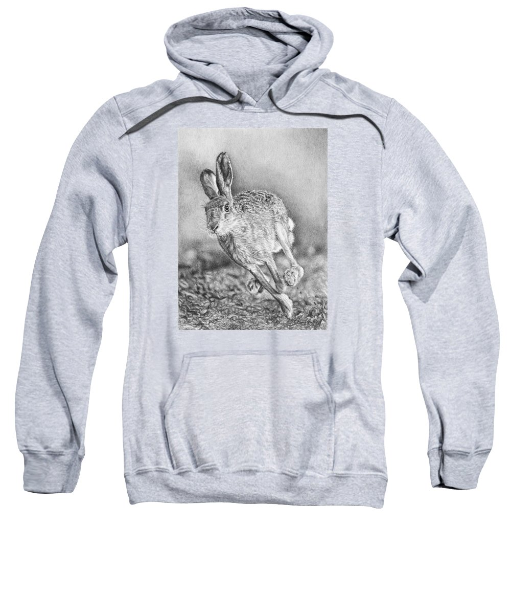 Hare Sweatshirt featuring the drawing Need For Speed by Frances Vincent