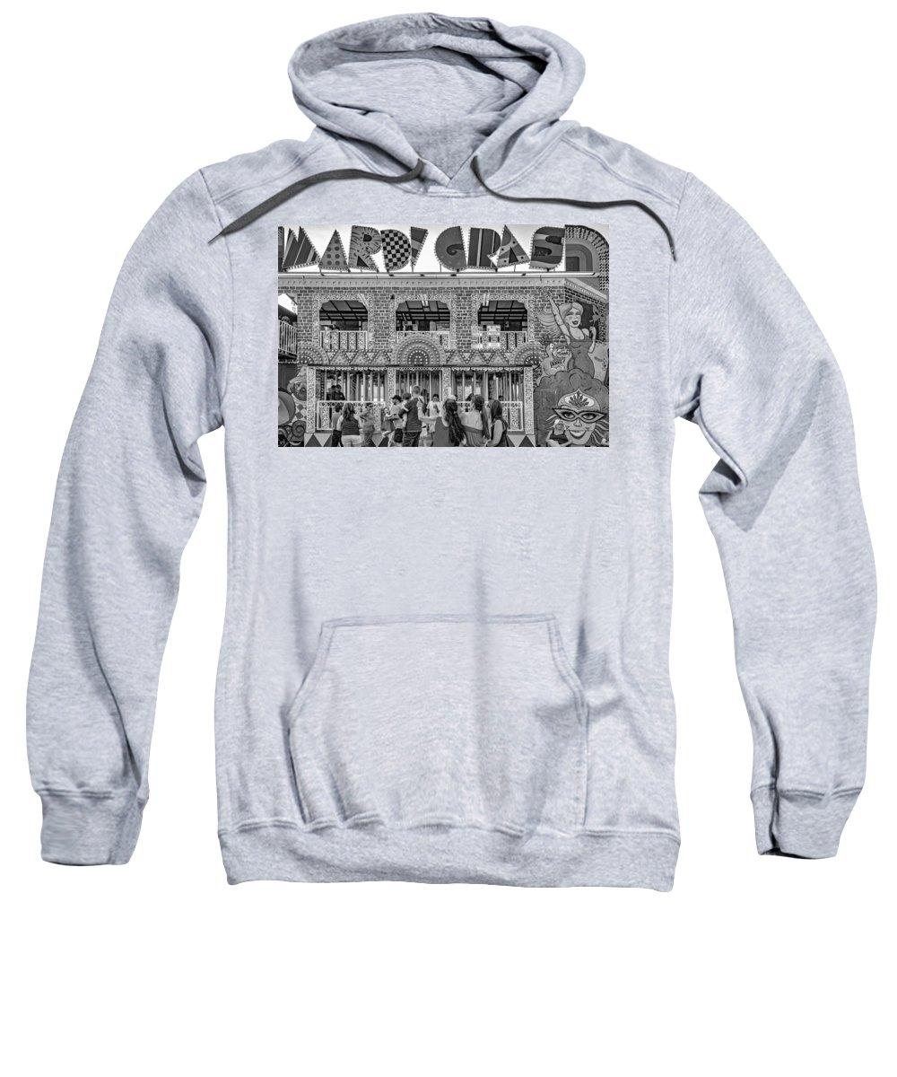 Steve Harrington Sweatshirt featuring the photograph Mardi Gras North - Bw by Steve Harrington