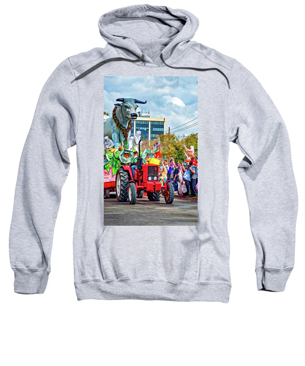 New Orleans Sweatshirt featuring the photograph Mardi Gras Parade -the Boeuf Gras by Steve Harrington