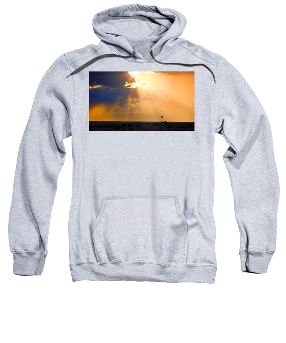 Skip Hunt Sweatshirt featuring the photograph Marfa Windmill 1 by Skip Hunt