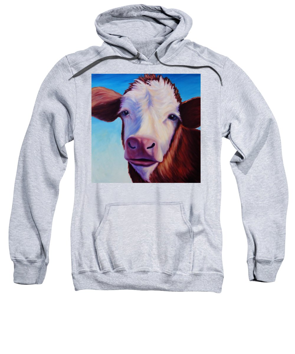 Cow Sweatshirt featuring the painting Marie by Shannon Grissom