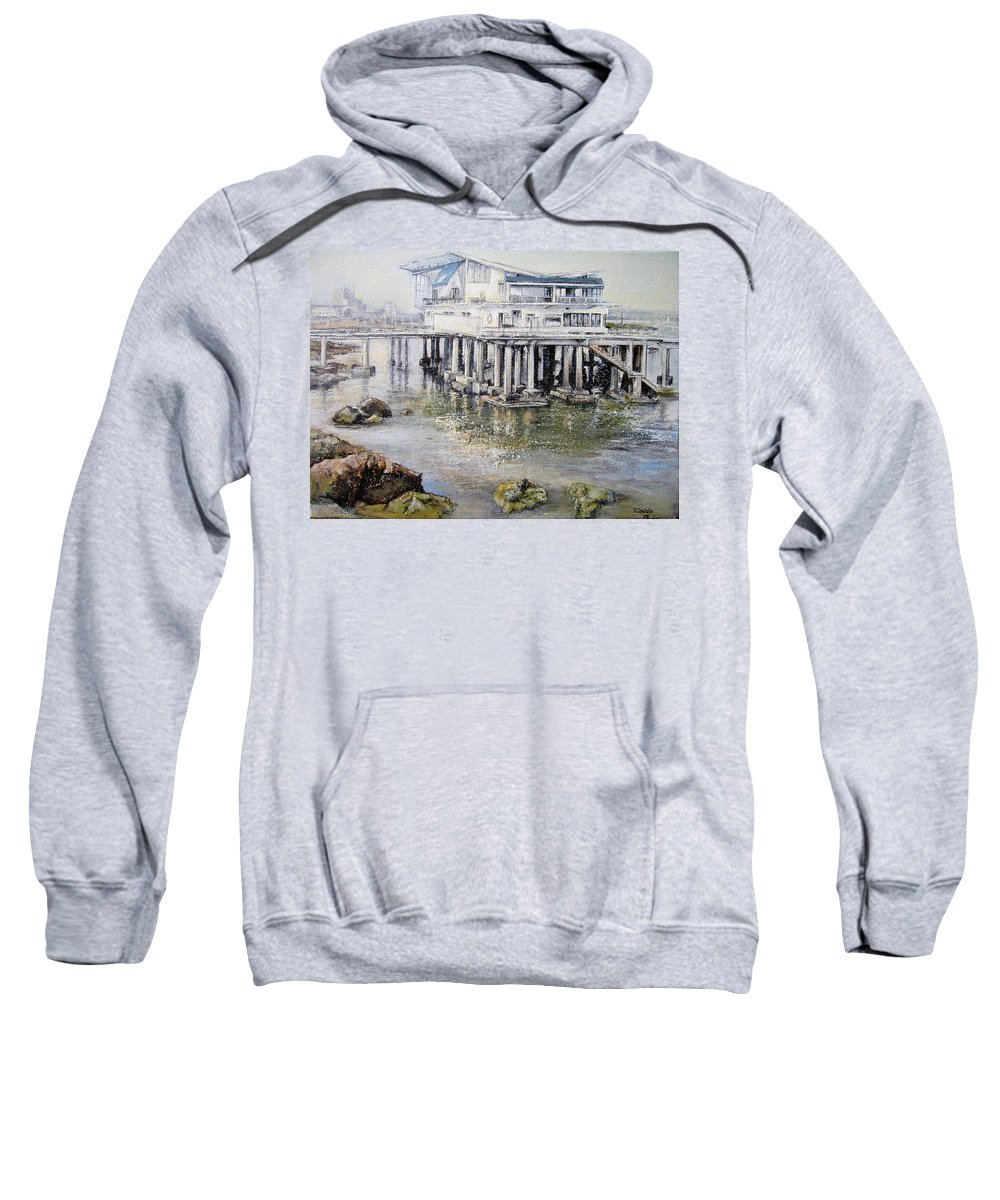 Maritim Sweatshirt featuring the painting Maritim Club Castro Urdiales by Tomas Castano