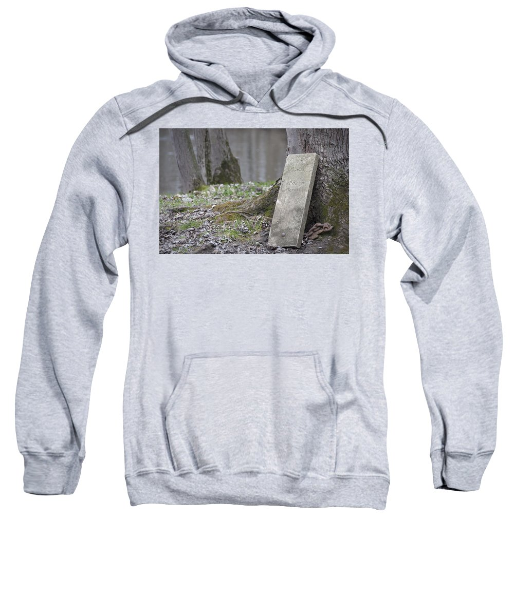 Sign Sweatshirt featuring the photograph Marker Chained To Tree by David Arment