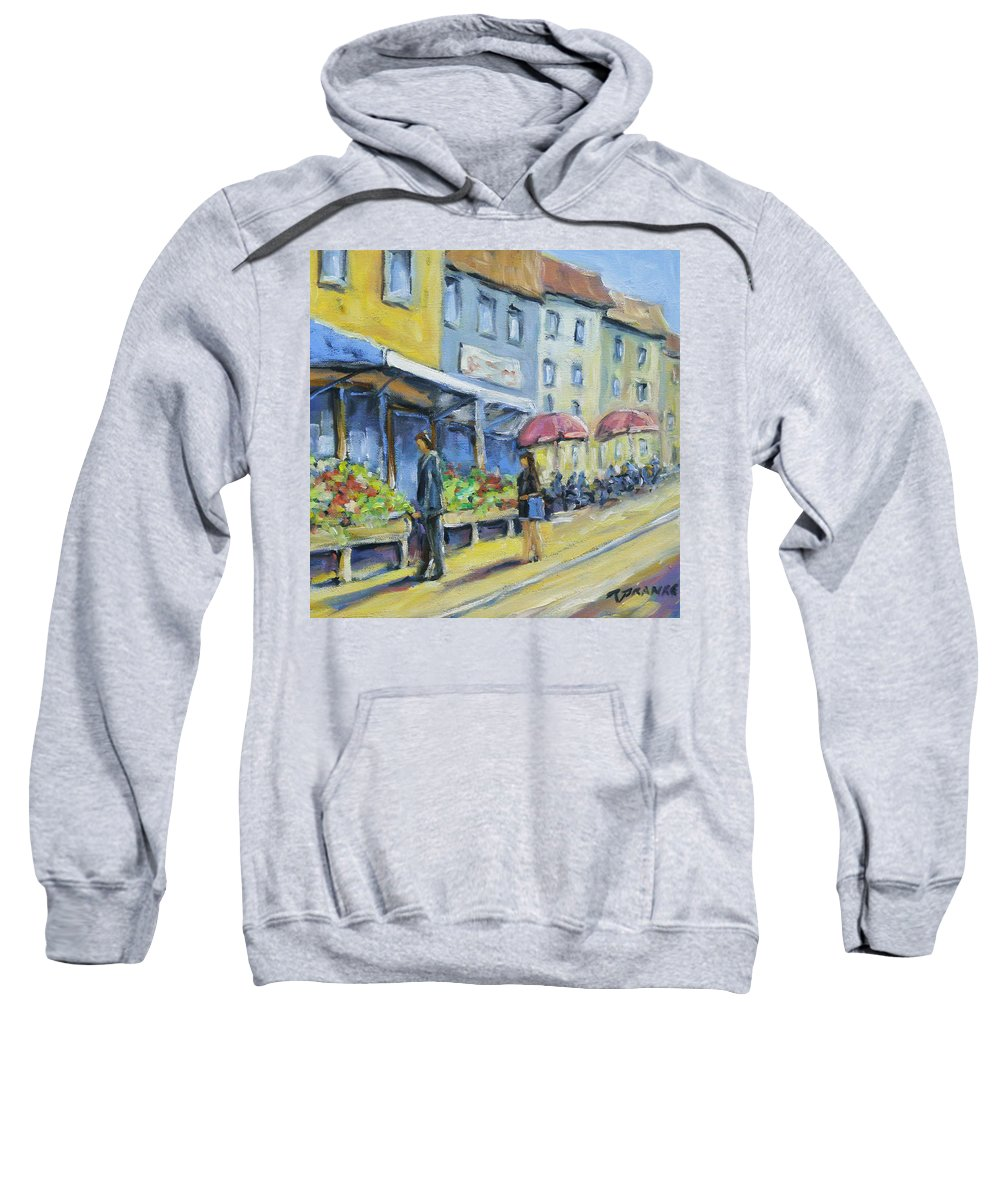 Balcony Sweatshirt featuring the painting Market Day by Richard T Pranke