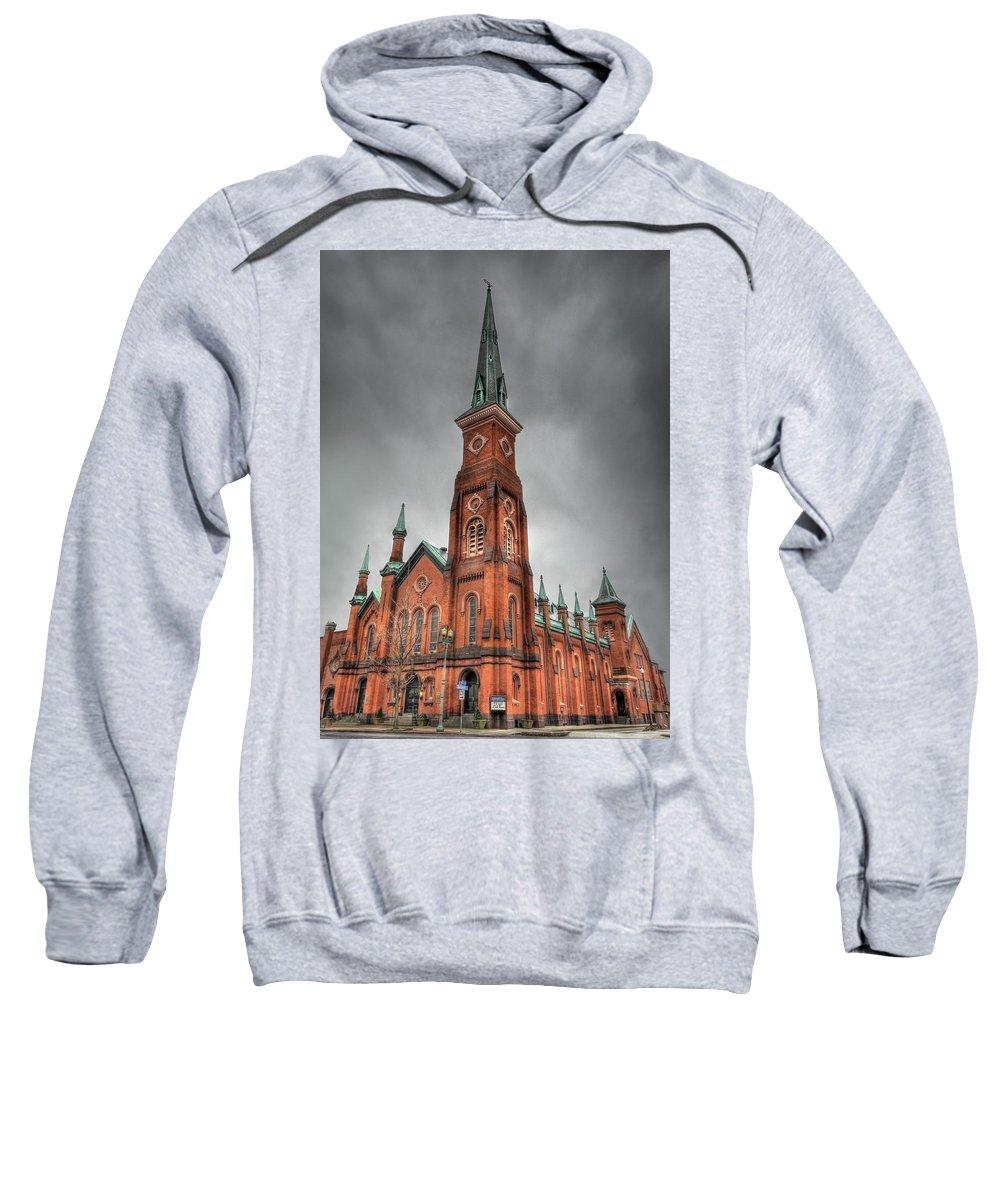 Market Square Presbyterian Church Sweatshirt featuring the photograph Market Square Presbyterian by Lori Deiter