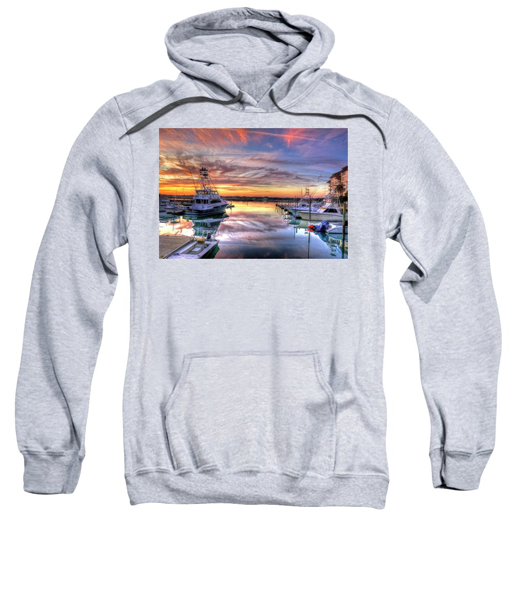Sunset Sweatshirt featuring the photograph Marlin Quay Marina At Sunset by TJ Baccari