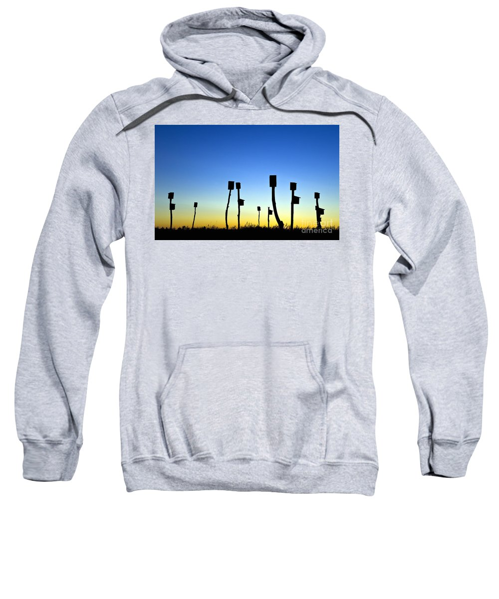 Group Sweatshirt featuring the photograph Marsh Birdhouses by John Greim