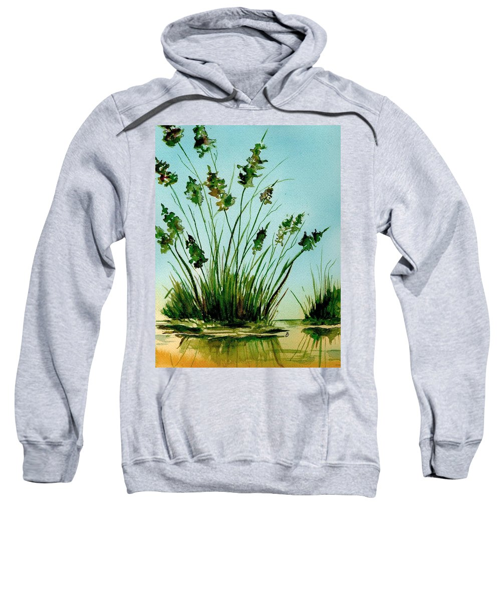 Landscape Sweatshirt featuring the painting Marsh Weeds by Brenda Owen