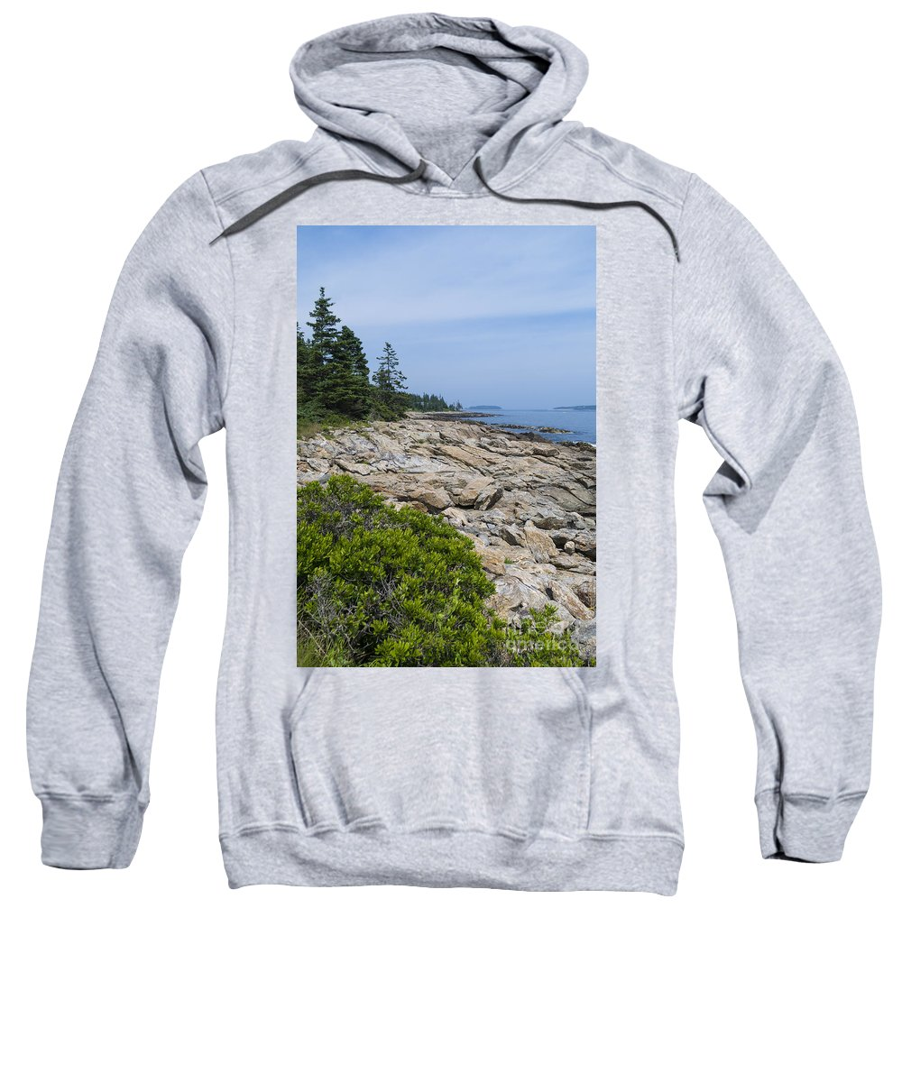 Rocky Shore Sweatshirt featuring the photograph Marshall Ledge Looking Downeast by Patrick Fennell