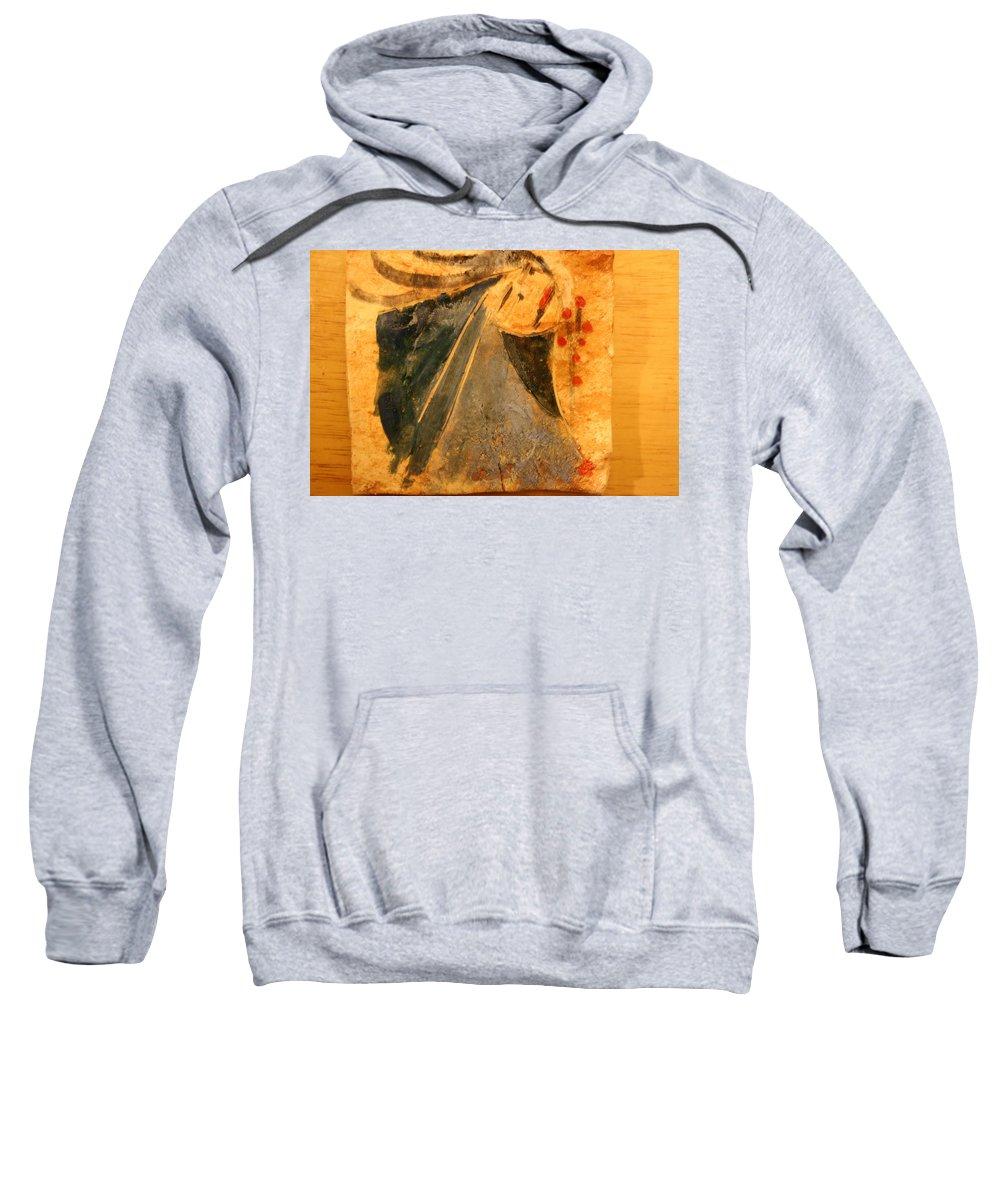 Jesus Sweatshirt featuring the ceramic art Marthas Hope - Tile by Gloria Ssali