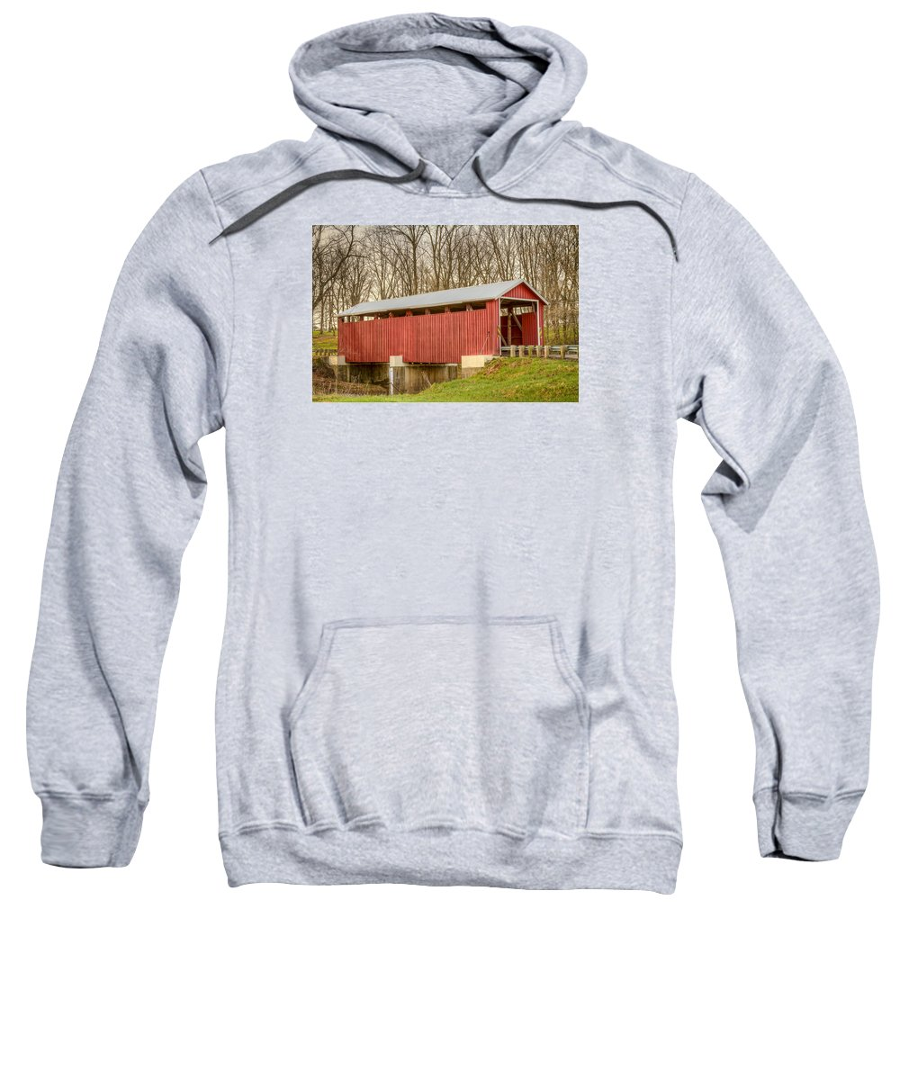 America Sweatshirt featuring the photograph Martinsville Covered Bridge by Jack R Perry