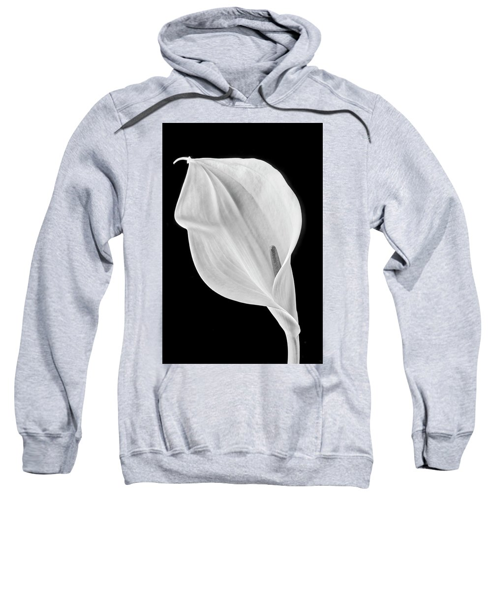 Marvelous Sweatshirt featuring the photograph Marvelous Calla Lily In Black And White by Garry Gay
