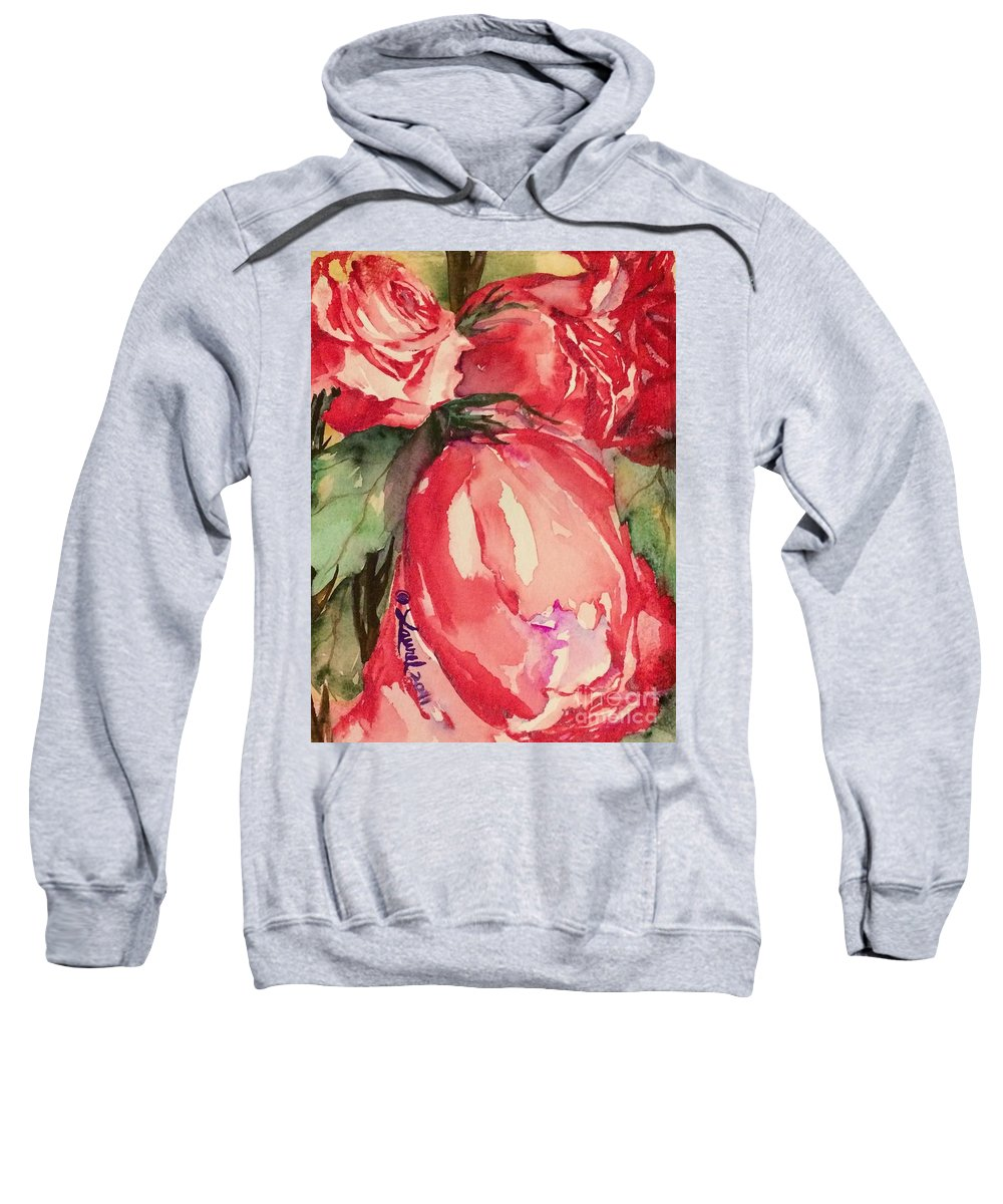 Florals Sweatshirt featuring the painting Ma's Roses 4 by Laurel Adams