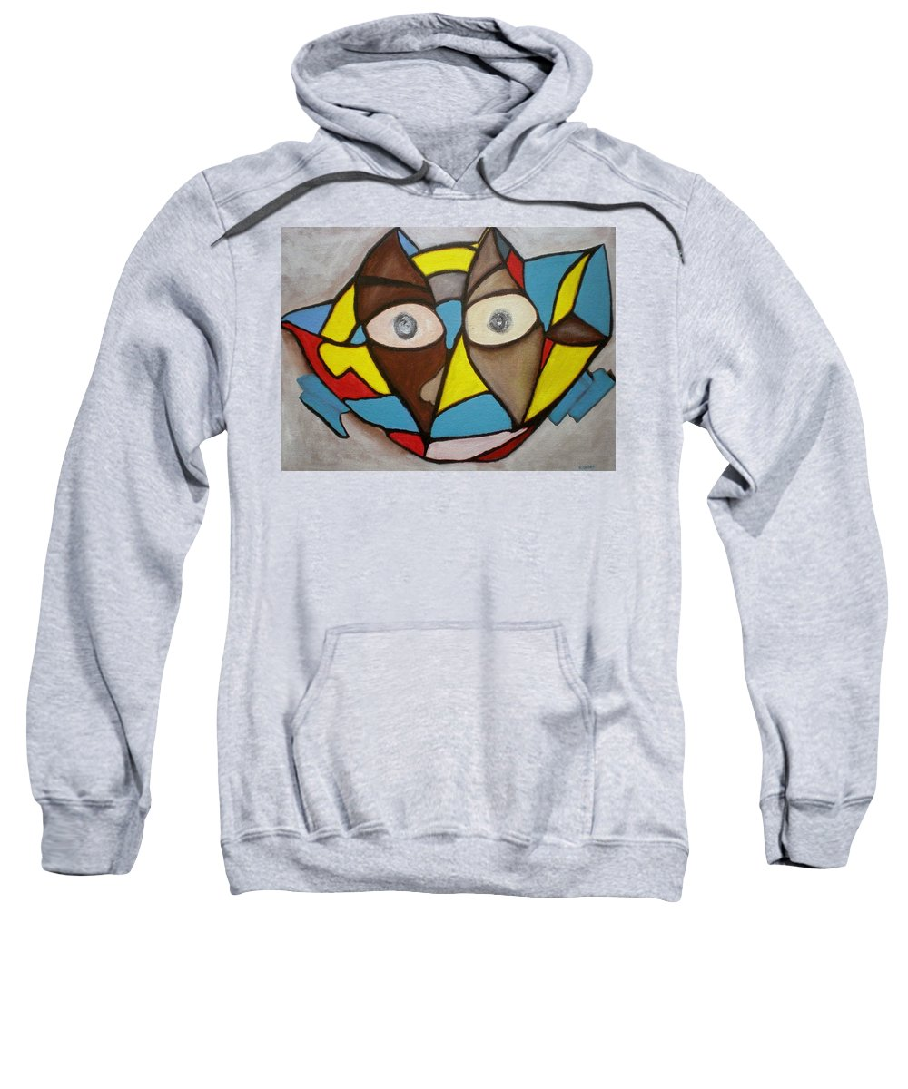 Masks Sweatshirt featuring the painting Mask by Philip Okoro